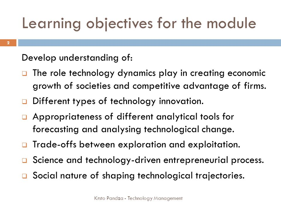 Learning objectives for the module