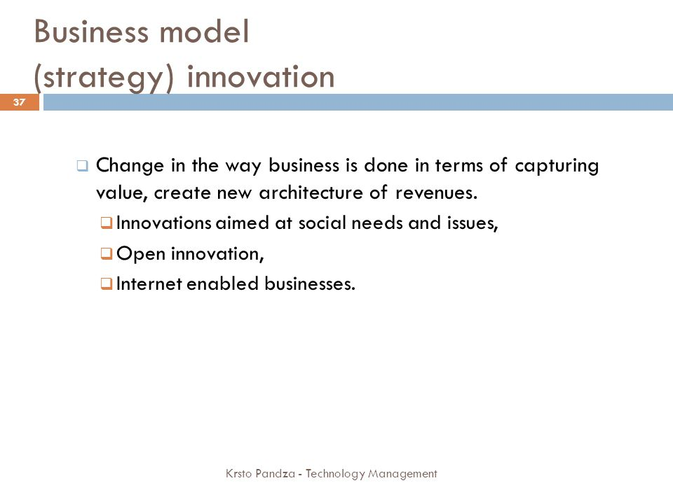 Business model (strategy) innovation