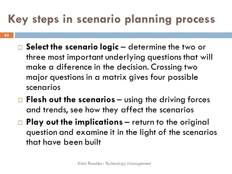 Key steps in scenario planning process