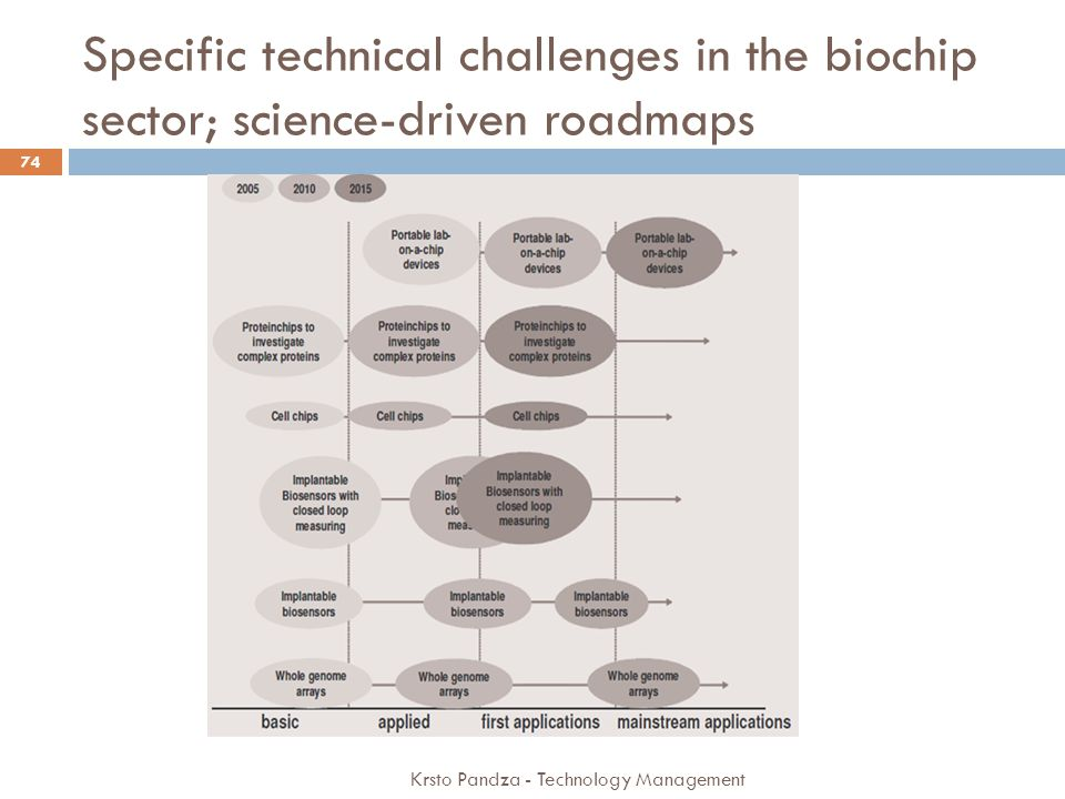 Specific technical challenges in the biochip sector; science-driven roadmaps