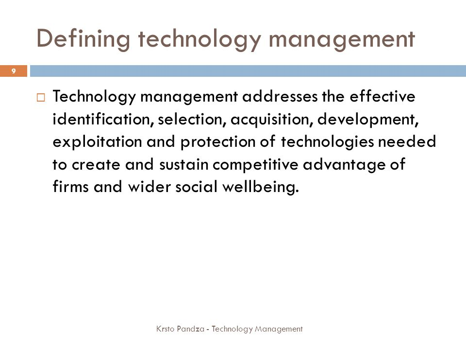 Defining technology management