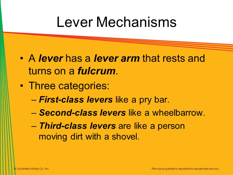 Lever Mechanisms A lever has a lever arm that rests and turns on a fulcrum. Three categories: First-class levers like a pry bar.