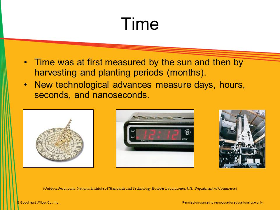 Time Time was at first measured by the sun and then by harvesting and planting periods (months).