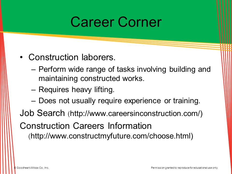 Career Corner Construction laborers.