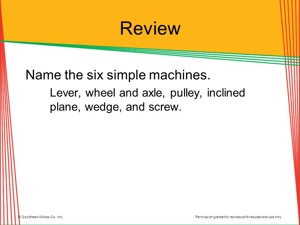 Review Name the six simple machines.