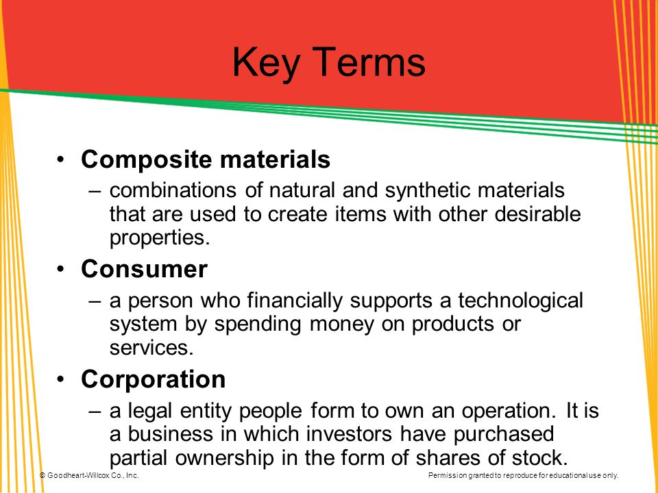 Key Terms Composite materials Consumer Corporation