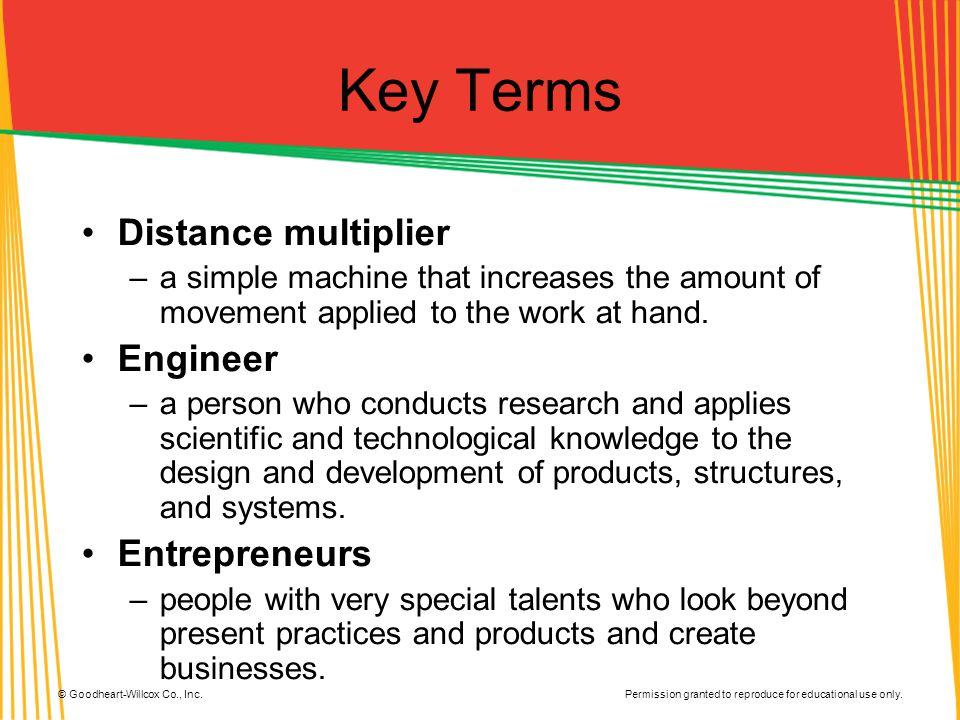 Key Terms Distance multiplier Engineer Entrepreneurs
