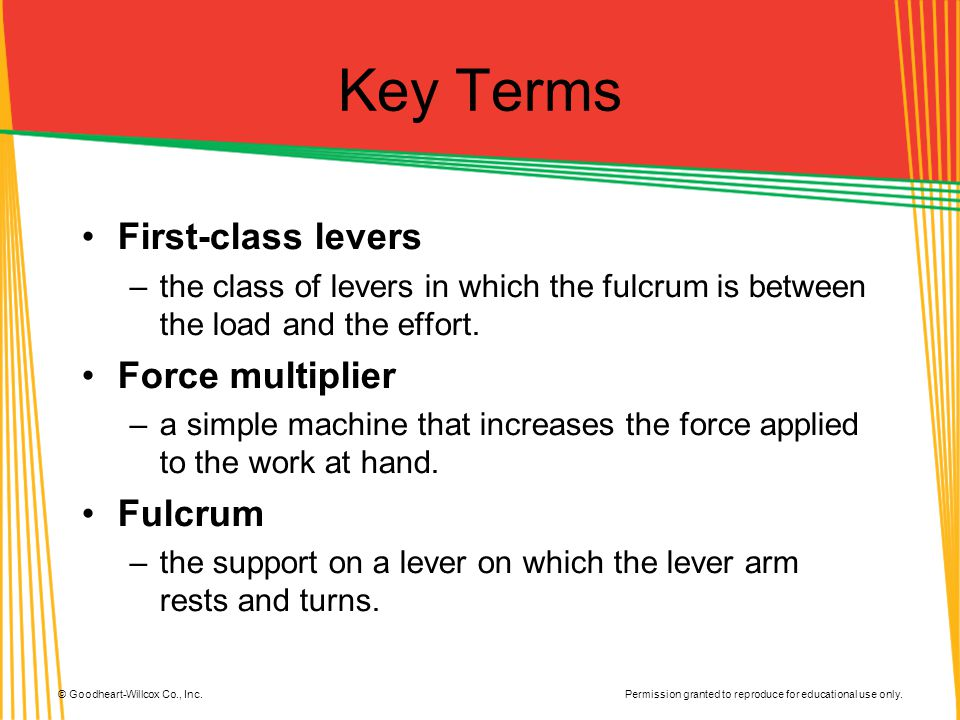 Key Terms First-class levers Force multiplier Fulcrum