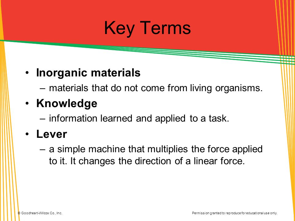 Key Terms Inorganic materials Knowledge Lever