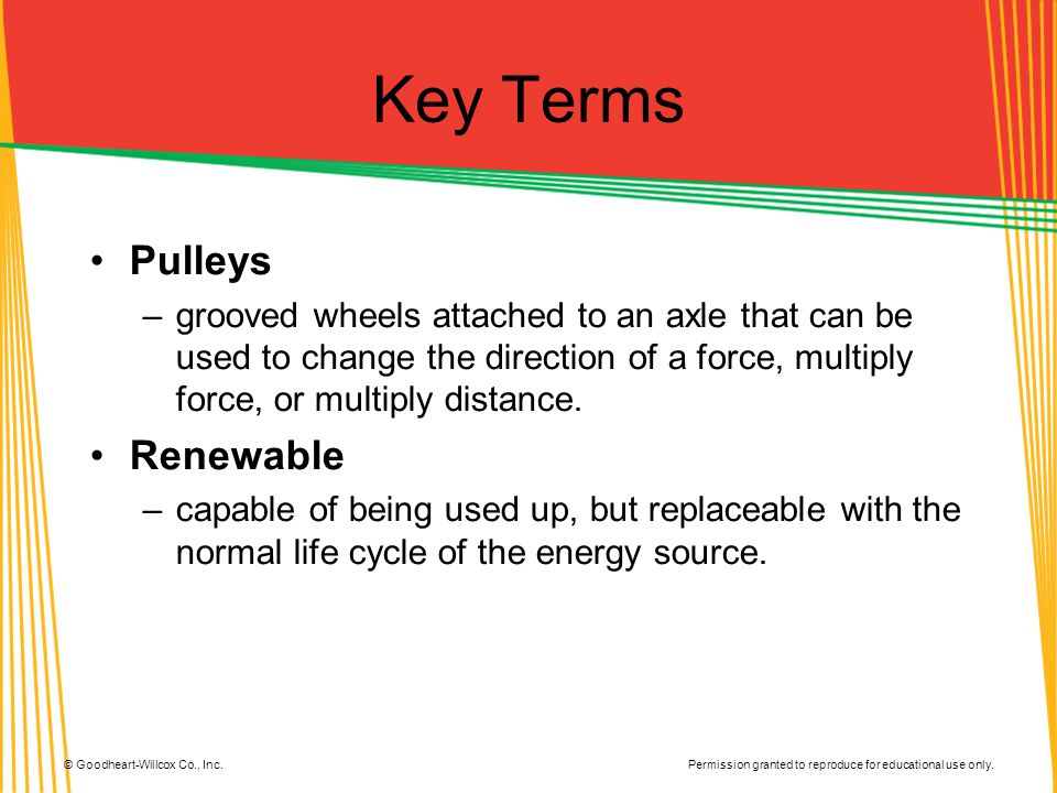 Key Terms Pulleys Renewable