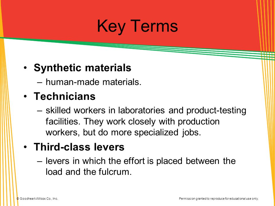 Key Terms Synthetic materials Technicians Third-class levers