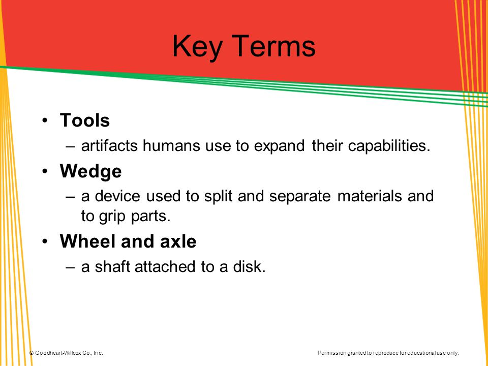 Key Terms Tools Wedge Wheel and axle