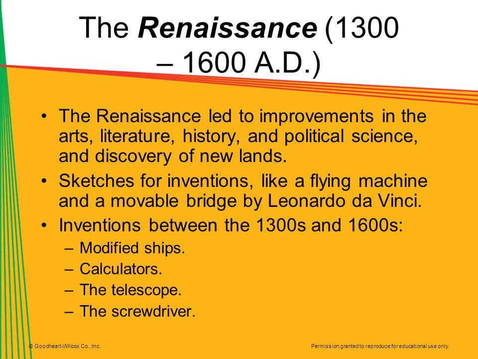 The Renaissance (1300 – 1600 A.D.)