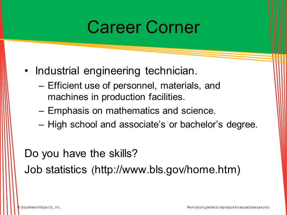 Career Corner Industrial engineering technician.