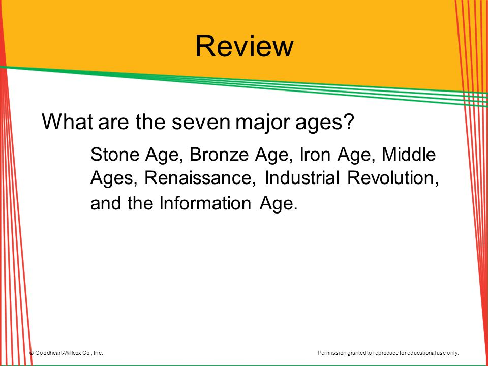 Review What are the seven major ages