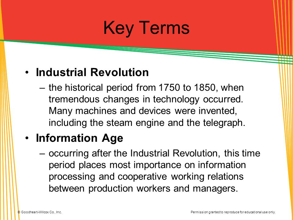 Key Terms Industrial Revolution Information Age