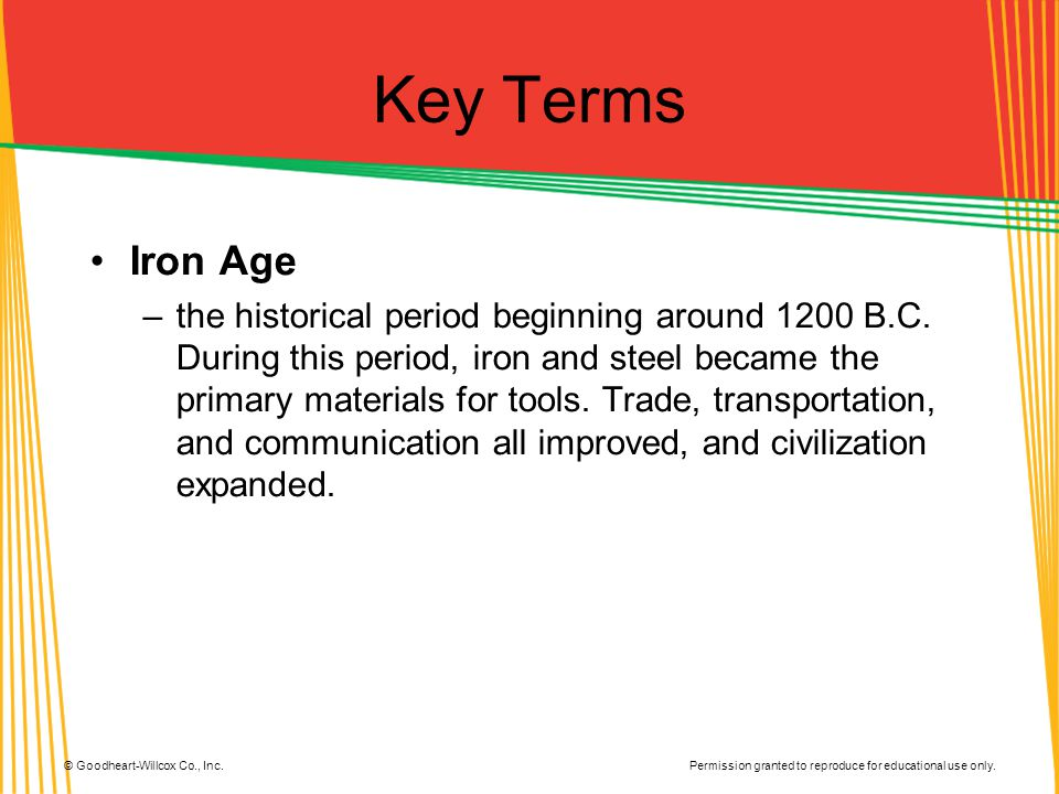 Key Terms Iron Age.
