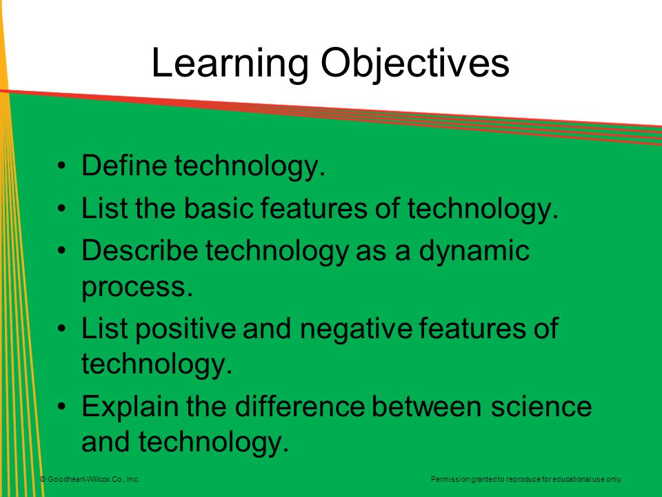 Learning Objectives Define technology.