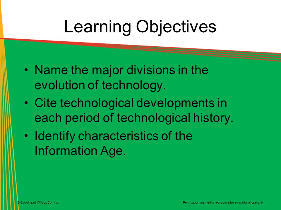Learning Objectives Name the major divisions in the evolution of technology.