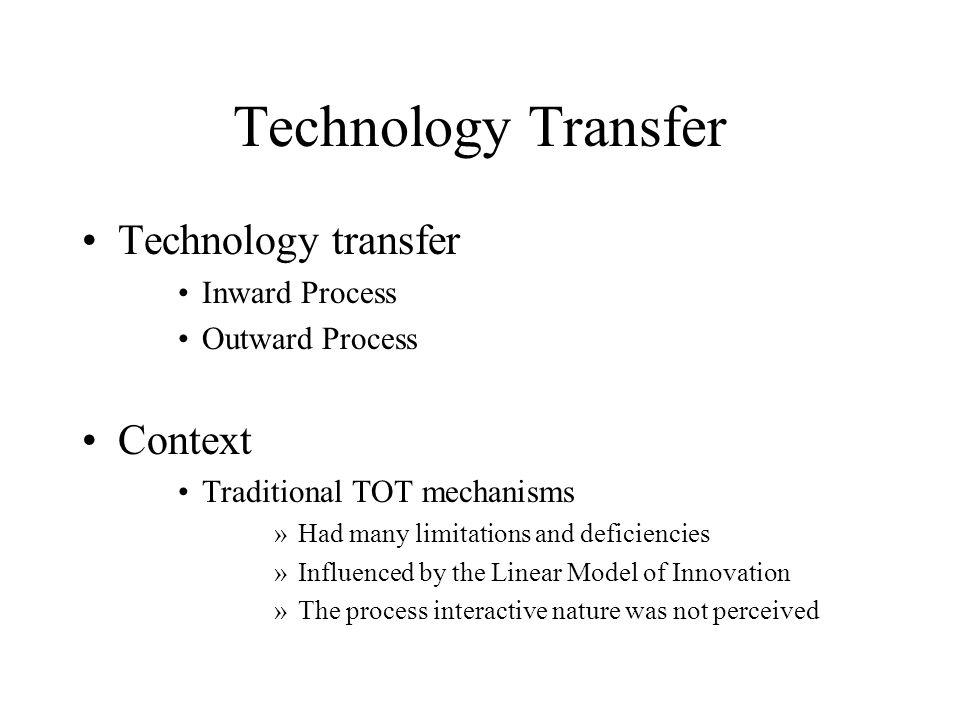 Technology Transfer Technology transfer Context Inward Process