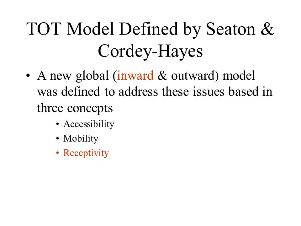 TOT Model Defined by Seaton & Cordey-Hayes