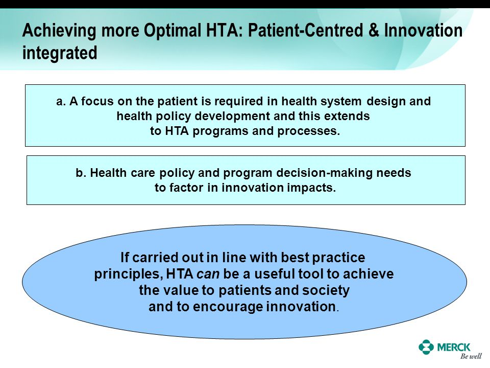 Achieving more Optimal HTA: Patient-Centred & Innovation integrated