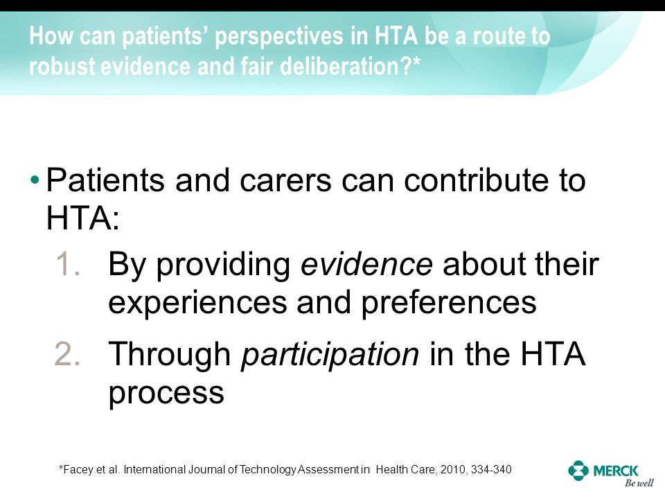 Patients and carers can contribute to HTA: