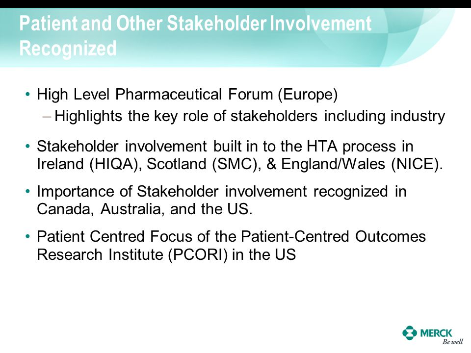 Patient and Other Stakeholder Involvement Recognized