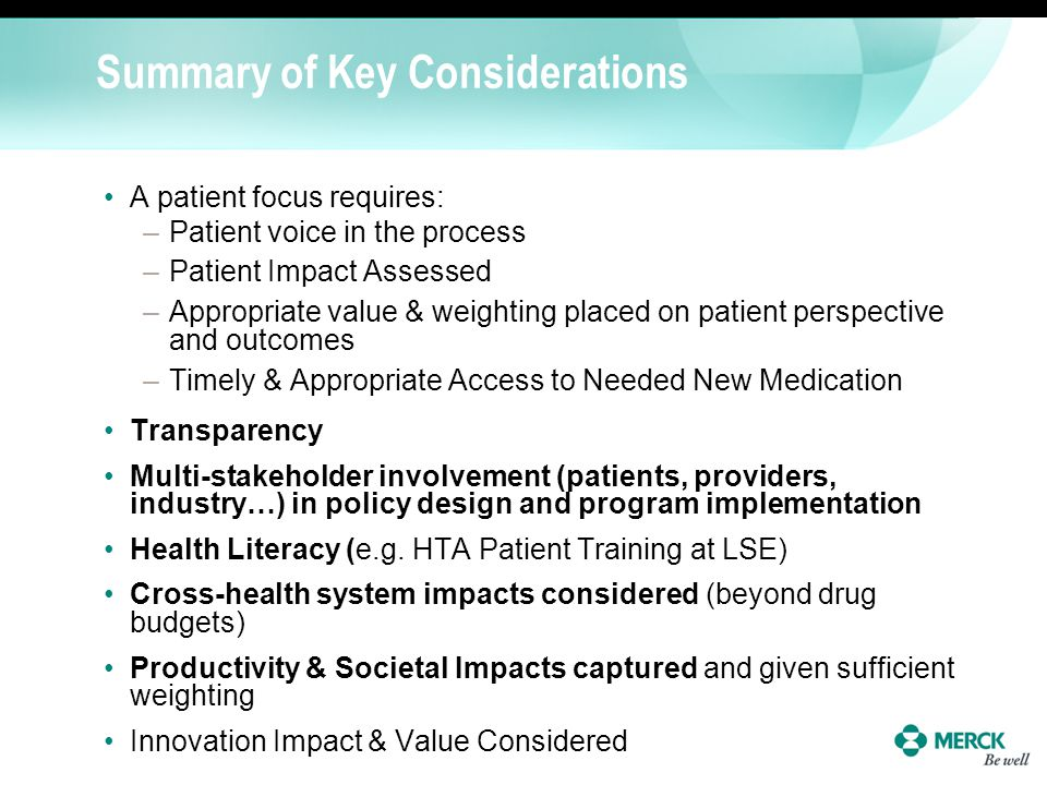Summary of Key Considerations
