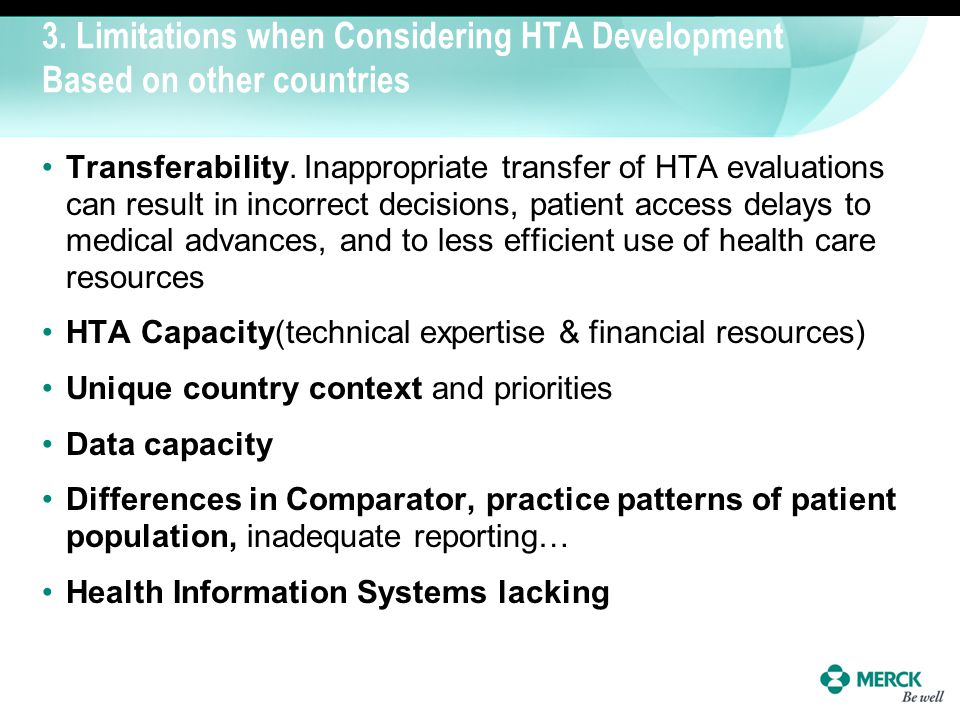 3. Limitations when Considering HTA Development Based on other countries