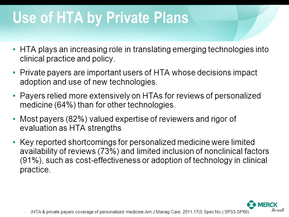 Use of HTA by Private Plans