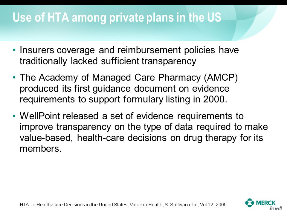 Use of HTA among private plans in the US