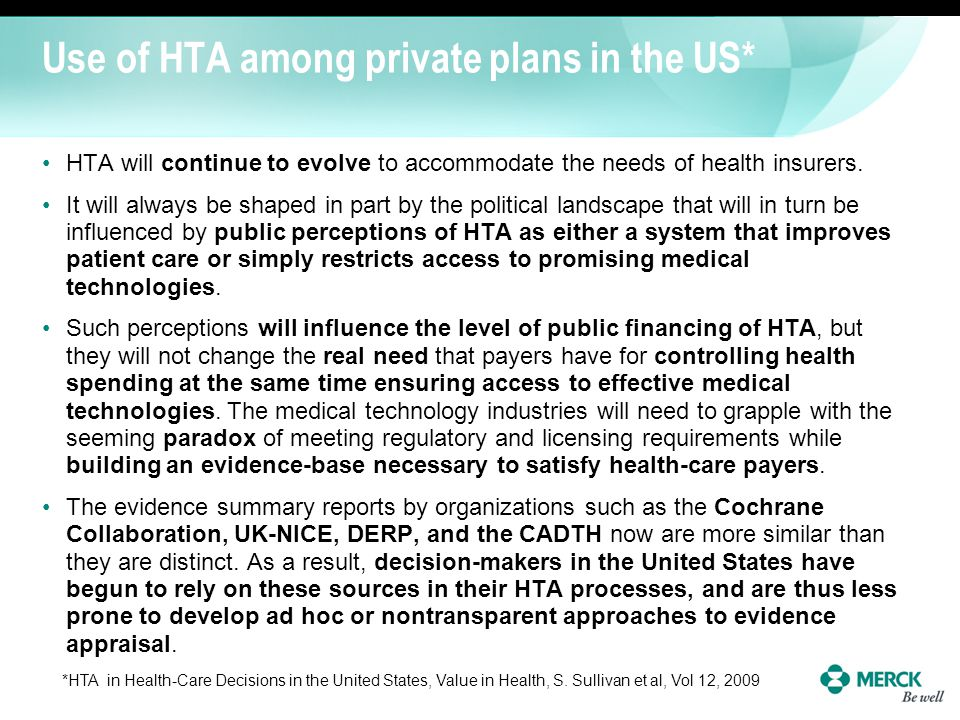 Use of HTA among private plans in the US*
