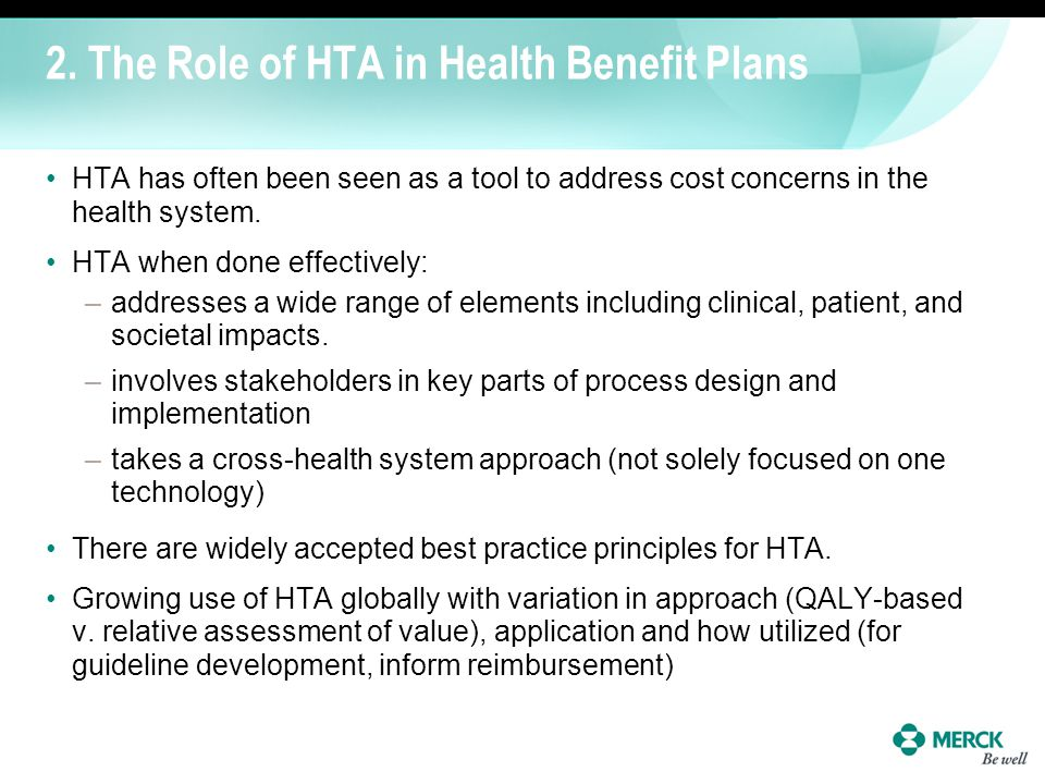2. The Role of HTA in Health Benefit Plans