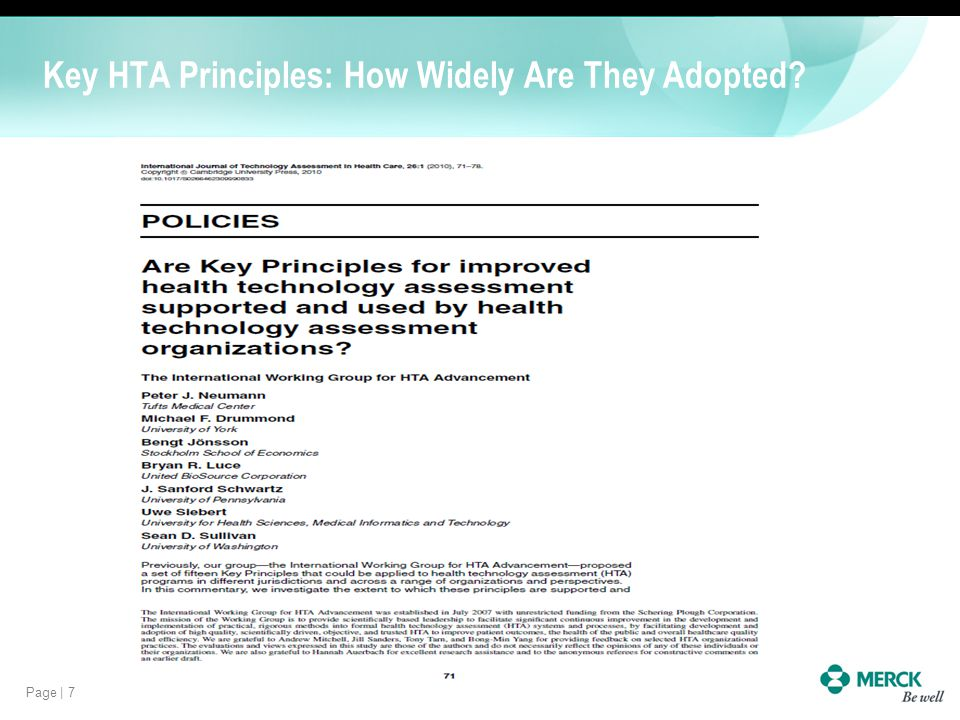 Key HTA Principles: How Widely Are They Adopted
