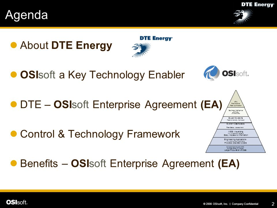 Agenda About DTE Energy OSIsoft a Key Technology Enabler