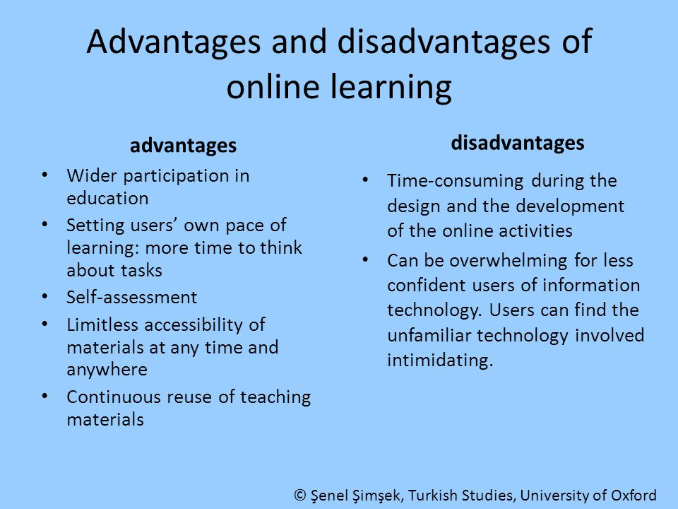 Advantages and disadvantages of online learning