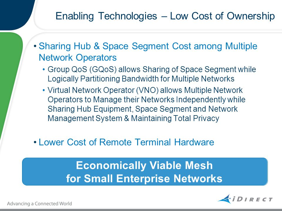 Enabling Technologies – Low Cost of Ownership