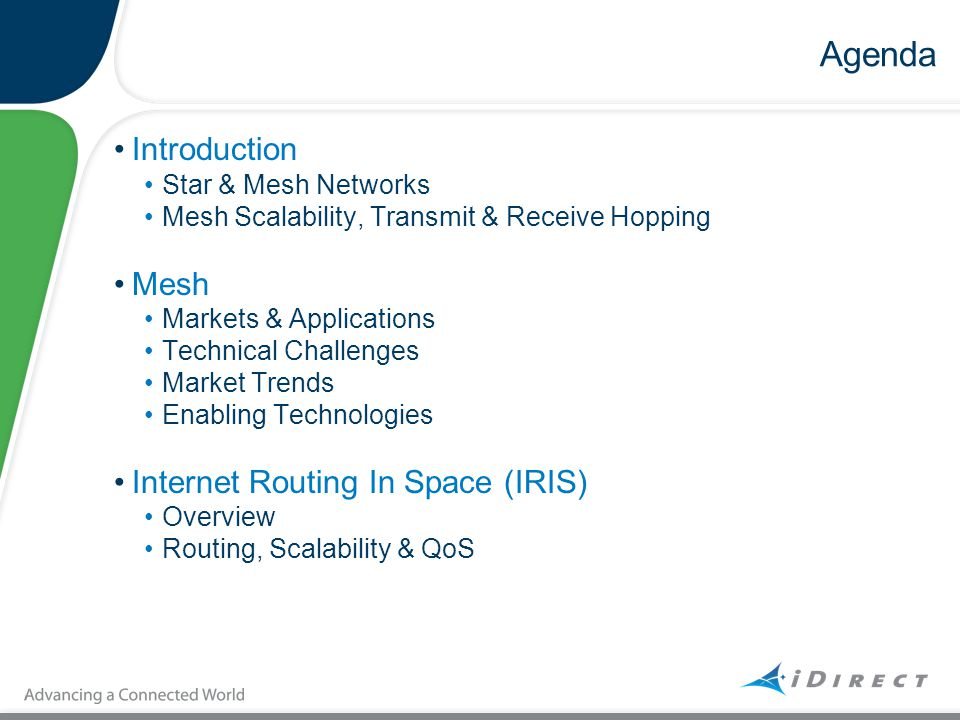 Agenda Introduction Mesh Internet Routing In Space (IRIS)