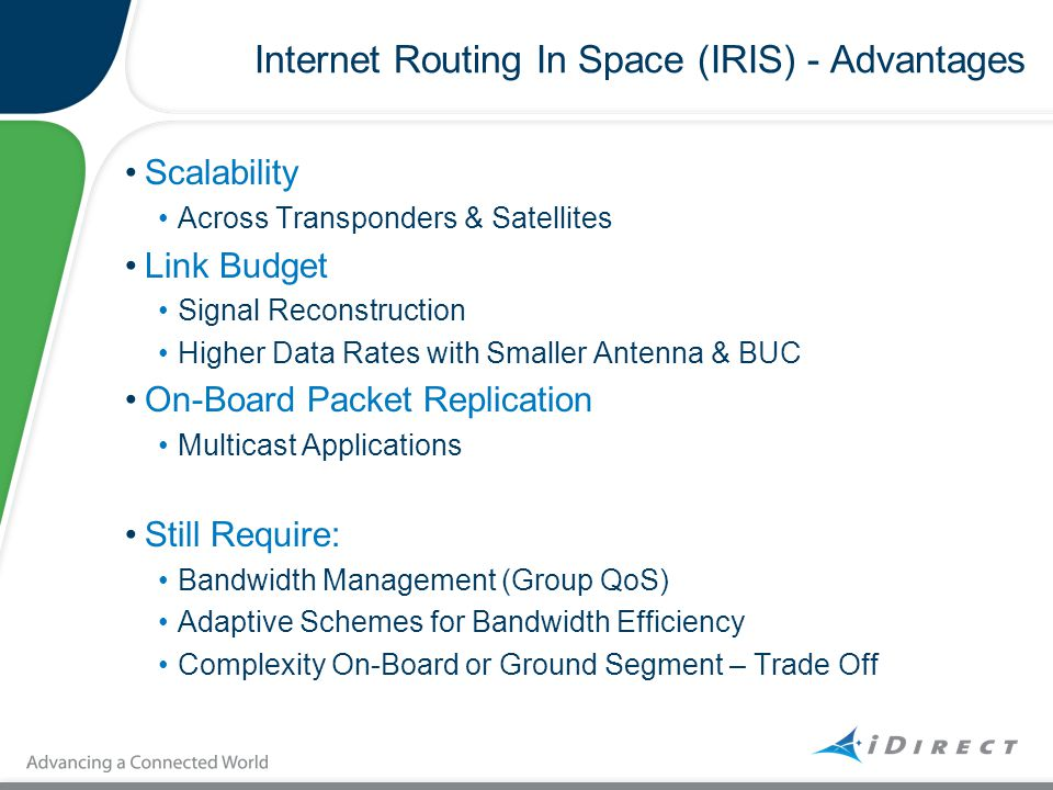 Internet Routing In Space (IRIS) - Advantages