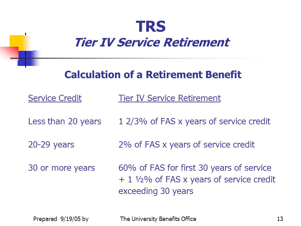 TRS Tier IV Service Retirement