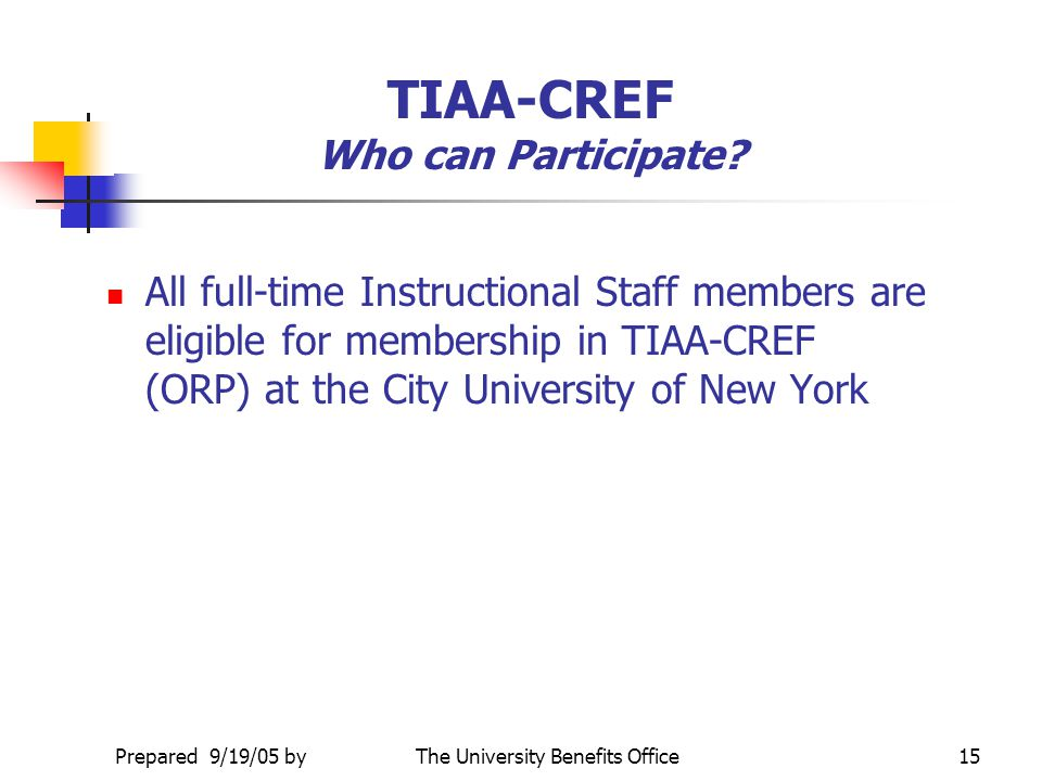 TIAA-CREF Who can Participate