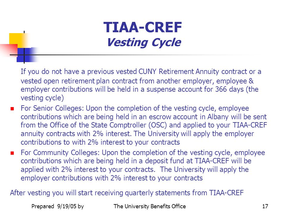 TIAA-CREF Vesting Cycle