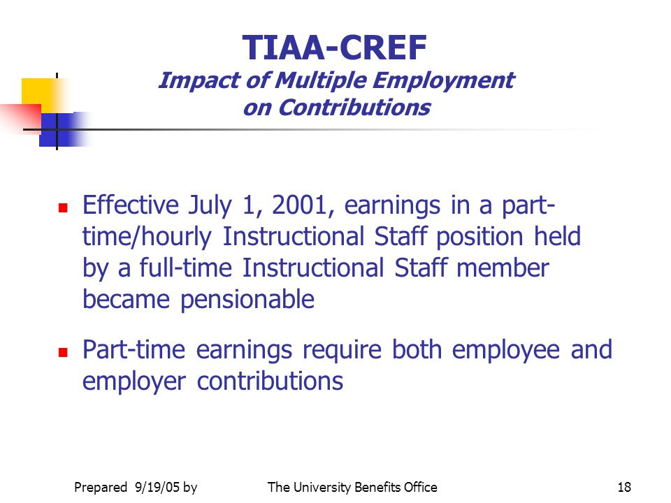 TIAA-CREF Impact of Multiple Employment on Contributions