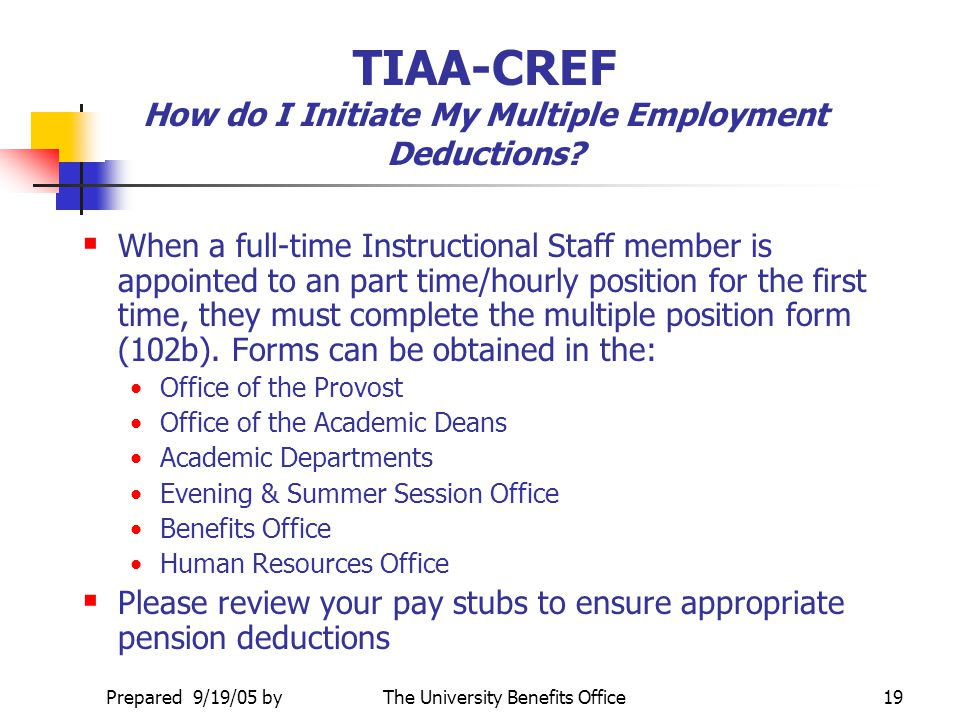 TIAA-CREF How do I Initiate My Multiple Employment Deductions
