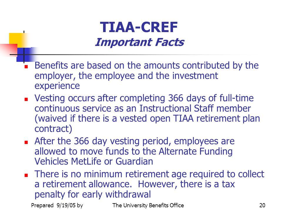 TIAA-CREF Important Facts