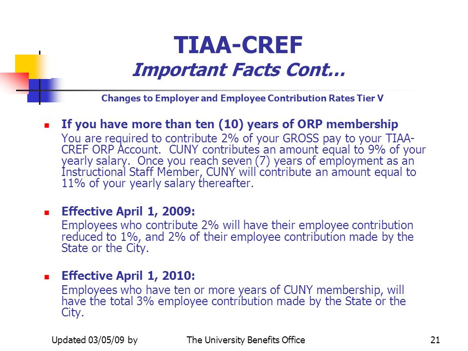 TIAA-CREF Important Facts Cont…