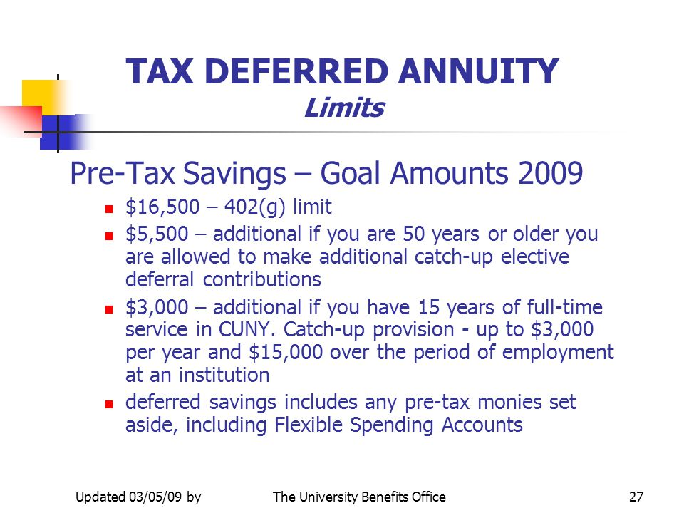 TAX DEFERRED ANNUITY Limits