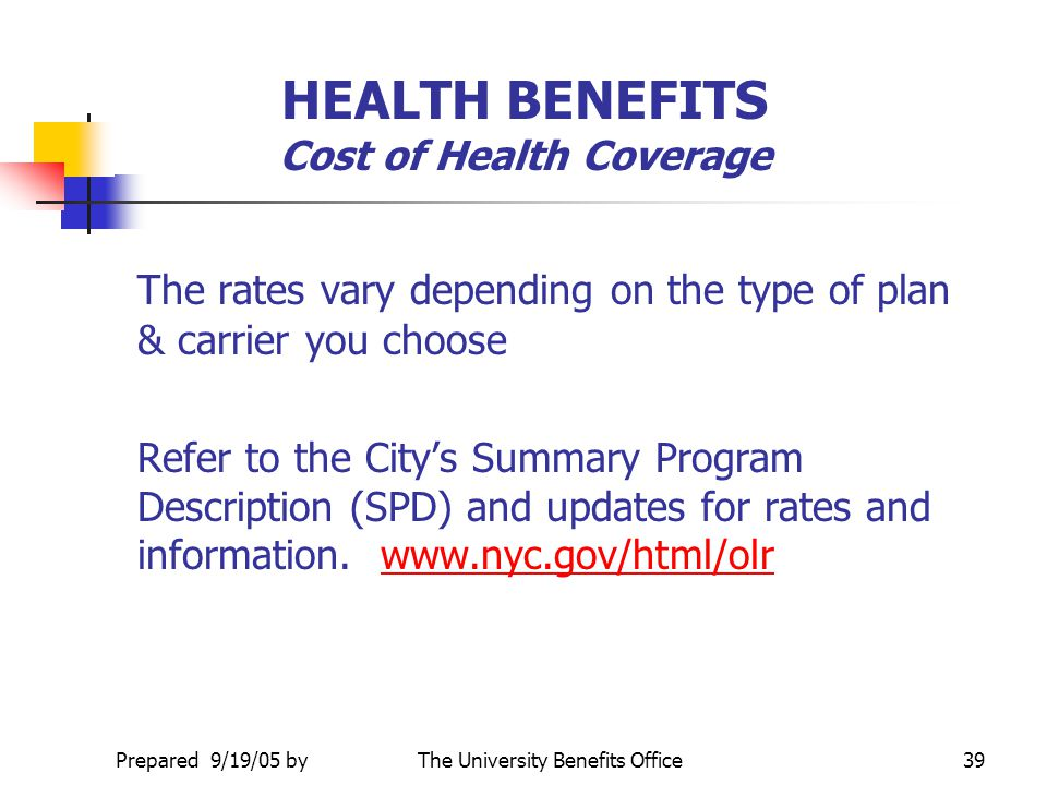 HEALTH BENEFITS Cost of Health Coverage