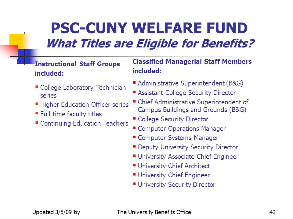 PSC-CUNY WELFARE FUND What Titles are Eligible for Benefits